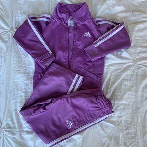 Girls Purple Adidas Track Suit